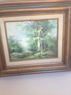 VTG 1970s Signed H Gailey Naturescape Stream Framed Oil Painting 10 x 8 inches