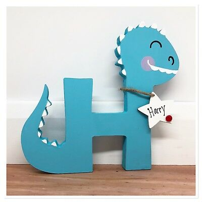 Personalised Wooden Letter Dinosaur - Baby Boy / Girl Gift Nursery Keepsake