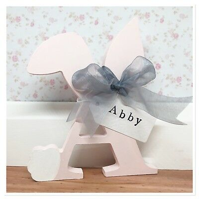 Personalised Wooden Initial Letter Free Standing Baby Girl Boy Gift Nursery