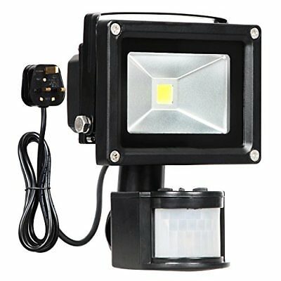 Motion Sensor Flood Light, 10w Led Pir Floodlights, Daylight White 6000k, 750lum