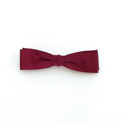 Burgundy satin-finish polyester clip-on batwing bow tie, 1970's/1980's vintage