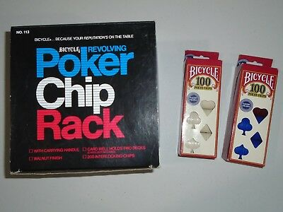 Bicycle Revolving Poker Chip Rack with 200 chips - NEW  plus 200 bonus chips