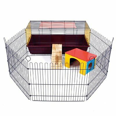 Indoor Rabbit 100 Cage With Run: Ideal For Rabbits   Guinea Pigs