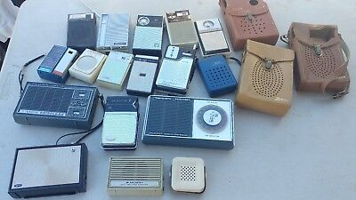Lot of 14 Vintage Assorted Transistor Radios + MOORE...