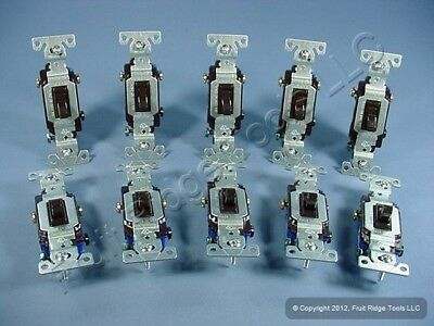 10 New Cooper Brown Toggle Wall Light Switches 3-WAY 15A 1303-7B NEW STYLE