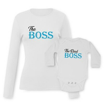 The BOSS, The Real BOSS Baby Vests Moms T-shirt Tees Set Funny Graphic Printed