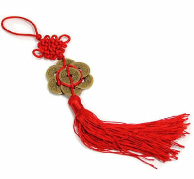FENG SHUI 8 Coins Tassel Red Hanging Cure Good Fortune Luck Wealth Prosperity -