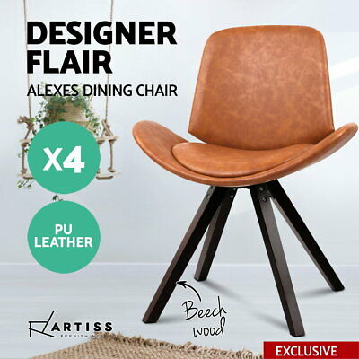 4 x Artiss ALEXES Dining Chairs PU Leather Padded Seat Timber Kitchen Cafe Brown