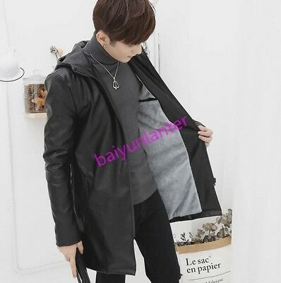 Mens PU Leather Hooded Fur Lining Jacket Casual SLim Mid Long Overcoat Outwear S