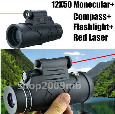 US 12X50 Monocular Telescope Flashlight+infrared Night Vision Red Laser+Compass