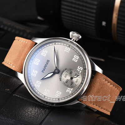 44mm Parnis Hand Winding Movement Men Boys Pilot Watch Stainless Case Gray Dial