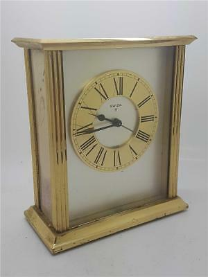"Vintage ""Swiza"" Classic Design Brass 8 Day Alarm Clock"