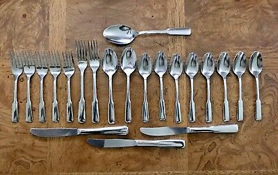 21pc FRIENDSHIP Fiddle Rogers Oneida knives spoons forks mixed lot Stainless VTG