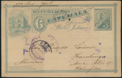 Guatemala Ganzsache 3c green Ansicht via New Orleans Hamburg postal stationary