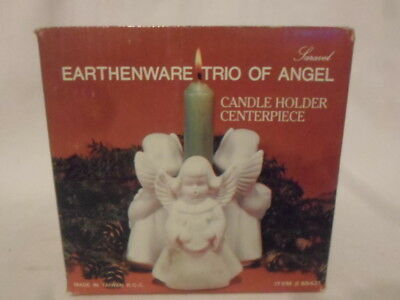 """Earthenware Trio of Angel Candle Holder Centerpiece 4"""""""