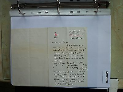 M2828 Document. Smith, Chesterfield. Re Payment of Interest. 1880s