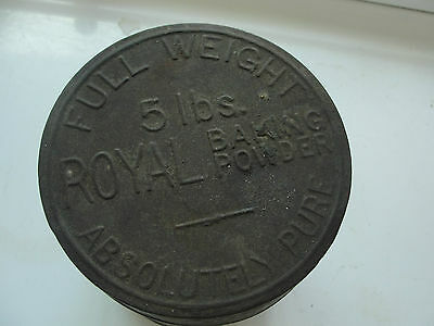 Royal Baking Powder, 5 lbs, Full Weight, Absolutely Pure, old tin, embossed lid