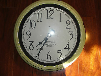 International Time Recording Co antique, vintage brass wall clock, old, Business