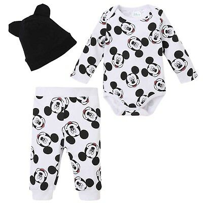Disney Mickey Mouse Baby Boys Girl Outfit Clothes Gift Set Bodysuit Trousers Hat