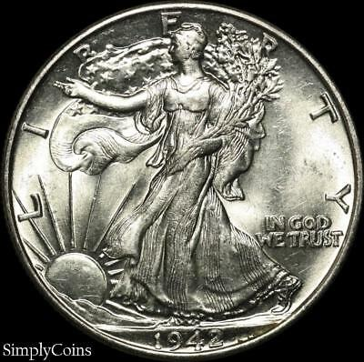 1942 Walking Liberty Silver Half Dollar ~ BU Uncirculated ~ SKU-797