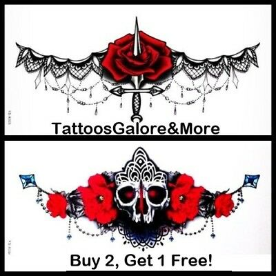 Halloween Under The Breast Tattoo, Gothic Knife / Skull Chest Temporary Tattoo