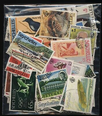 Seychelles Bag 80 Stamps Used