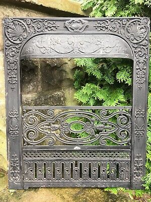 Large Victorian Cast Iron Fireplace Grate Antique Architecture Garden #6
