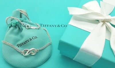 Vintage Tiffany & Co Sterling Silver Infinity Pendant Double Chain Necklace 16""