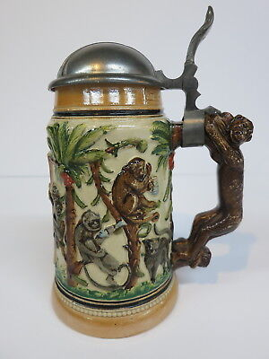 Pottery German Beer Stein Bear Monkey Cat Drinking Stages (Mettlach Era) 100 Yrs