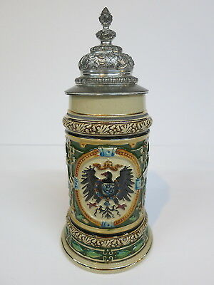 Pottery German Beer Stein Post Telegraph WW I Eagle (Mettlach Era) 100 Yr Old