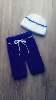 Handmade Knitted Newborn Baby Photography Prop Sailor Hat And Trousers