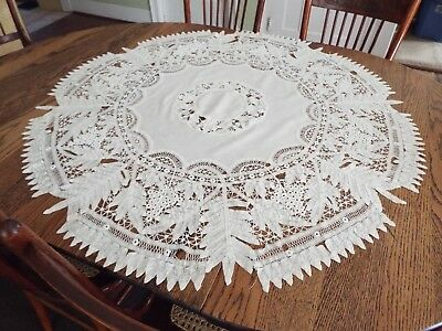 """vntg Handmade Tape Lace Tablecloth table cover doily Linen 44"""" pre 1930"""