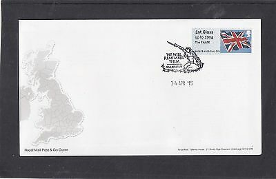 GB 2015  Post & Go Frama Union Flag FAAM overprint 1st class stamp A03 FDC Salis