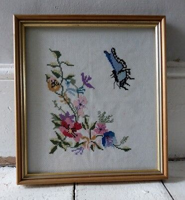 Vintage Retro Kitsch Cute Butterfly Floral Embroidery Tapestry Needle Work