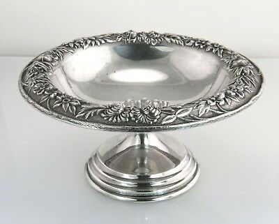 S Kirk & Son Repousse Floral Sterling Silver Compote Footed Bowl Dish 436F