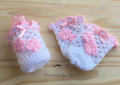 Handmade crochet baby botle cover for a 5 oz Flores Girls white pink