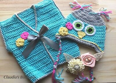 Crochet Sweater and Hat Set - Handmade - Girls- Newborn  0-3 months Owl Hat