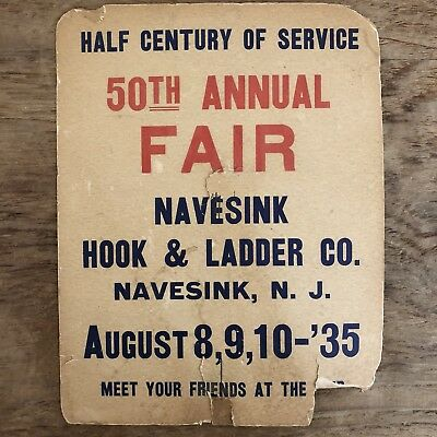 Vintage 1935 Navesink New Jersey Hook & Ladder Co. Annual Fair Advertising Sign