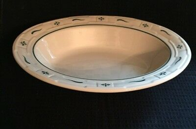Longaberger  Heritage Green Large Oval Serving/ Vegetable Bowl--Made In Usa