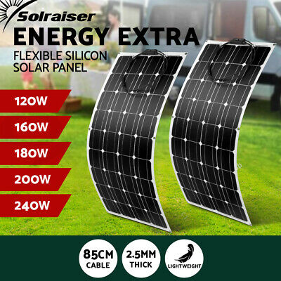 160W 240W Flexible Solar Panel Power Battery Charging Caravan Boat Camping 12V