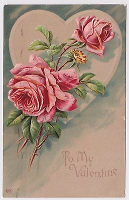 Antique Postcard - To Mt Valentine - Embossed Roses - Early 1900's