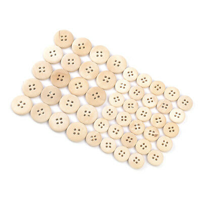 50Pcs Mixed Wooden Buttons Sewing Accessories Natural Color Round 4-Hole Buttons