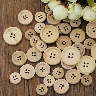 50× DIY Mixed Wooden Buttons Natural Color Round 4-Holes Sewing Scrapbooking