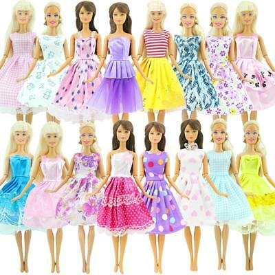 Handy 10Pcs Doll Dress Wedding Party Mini Gown Fashion Clothes For Barbie New HF