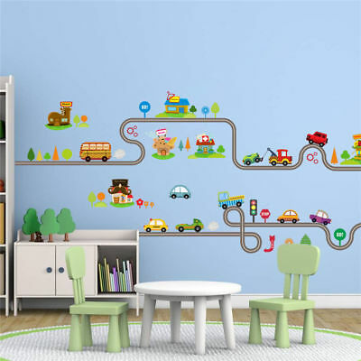 Highway Track Shape Wall Sticker For Kids Rooms Children Play Room Decoration