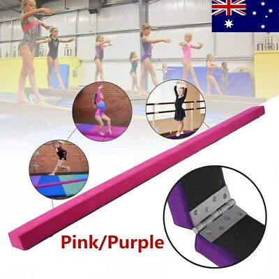 2.2m Gymnastics Folding Balance Beam Pink/Purple Synthetic Suede AU Stock