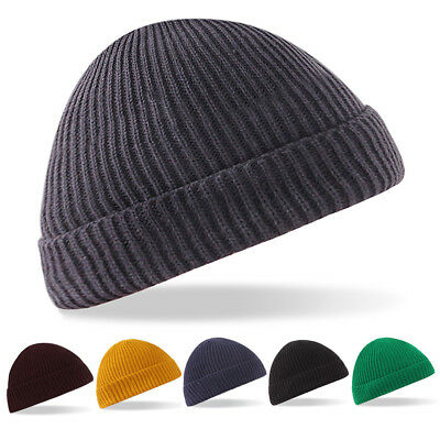 Classic Mens Unisex Knitted Warm Winter Fisherman Beanie Hat Skateboard Cap