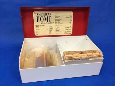 "Vintage The American Home Metal Recipe Box Red & White 10 1/2"" Wide"