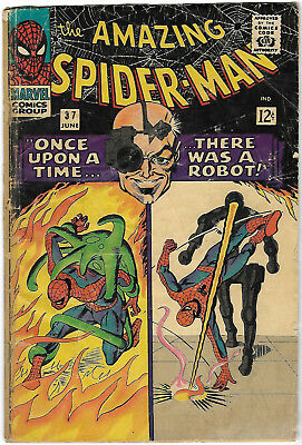 "1966. ""AMAZING SPIDERMAN"". Vintage Marvel comic Vol.1 #37. Good."