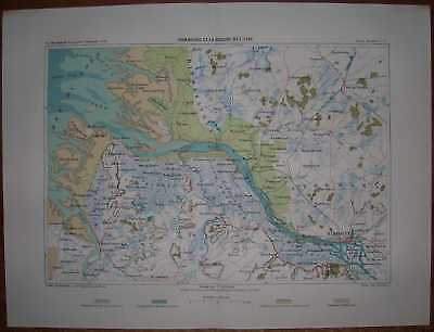 1878 Reclus map HAMBURG AND MOUTH OF ELBE, GERMANY (#8)